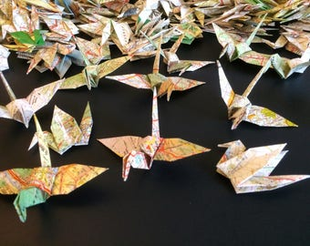 Map Origami Birds 10cm X 500 Vintage French Map - Origami Birds - Folded Paper Birds - Wedding Decoration - Baby Shower - Paper Decorations