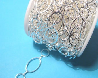 3 ft Brass Handmade Silver Plated Links Chains Links-Opened  ( No.02S)