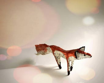 Little Copper Fox Paper Model made from recycled book pages - Miniature Fox Sculpture Ornament Handmade Painted Art Decoration-READY TO SHIP