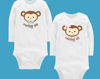 Twin Bodysuits Monkey See Monkey Do.  New Twin Baby Gift.  Baby Bodysuits for Twins.  Twin Baby Onesies.  New Twins Baby Gift.