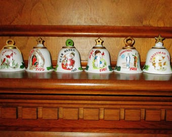 Vintage Christmas Bell Ornament Collection Set 1970's - 1980's