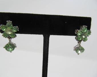Green Flower Dangle Stud Earrings