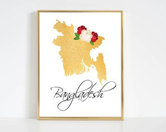 Bangladesh Map. Bangladesh Printable. Bangladesh Wall Art. Bangladesh Wall Decor. Bengali Wall Art Download.