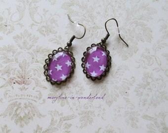 Dark purple earrings white stars