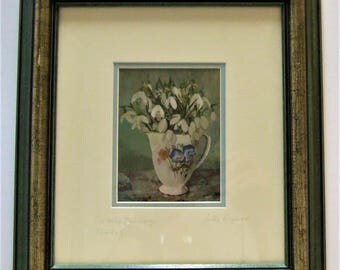 Loes Agoust original small flower painting Snowdrops  Calmly January framed posts worldwide