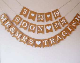 Wedding, Bridal shower decorations, Save the date, Engagement party buntings