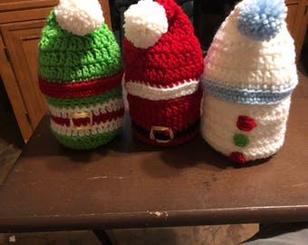 Crcheted Christmas stocking baskets