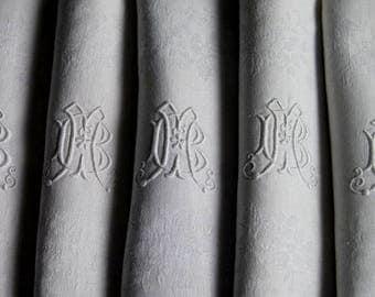 6 Fabulous Huge Antique French Damask Napkins Interlaced Initials Monogram MB BM 83 x 66 cms (34.5 x 29.5 ins)