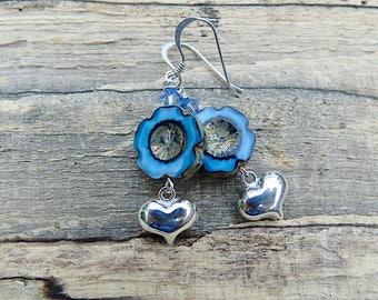 Czech flower & heart sterling silver earrings