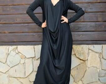 ON SALE Black Jersey Jumpsuit, Black Plus Size Jumpsuit, Plus Size Jumpsuit, Loose Jumpsuit TJ10 by Teyxo