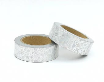 Holographic silver laser 10m Foil Washi Tape roll  - Christmas - Gift - decoration scrapbooking planner supply cheap design unique sweet