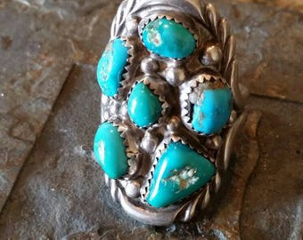 Massive Sterling Silver Turquoise Cluster Ring By Navajo Artist W. NEZ Signed