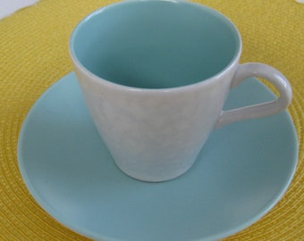 POOLE POTTERY ENGLISH Cup and Saucer, Sea Green/Dove Gray. 4 available.