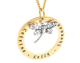 Personalised Jewellery, Personalised Necklace, Family Necklace, Hand Stamped Gold Pendant with DragonFly Charm, Friendship Necklace, Unique