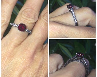 Black Gold Engagement Ring 14kt Gold 6.5mm Round Pigeon Blood Ruby and White Sapphire Side Stones Engagement Ring Victorian Love Ring