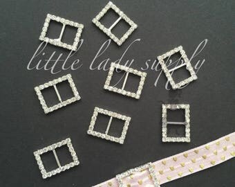 SHOP CLOSING Silver Rectangle Buckle Slider, Ribbon Slider, Buckle, Invitations, wholesale, napkin ring, hair bow, shoe clip