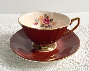 Burgundy Elizabethan China Tea Cup and Saucer