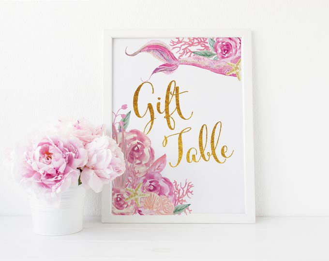 """Mermaid Guest Table Sign 8x10"""" // Printed //Pink Floral // Mermaids // Mermaid Tail // Made to Match our QUEENSLAND COLLECTION"""