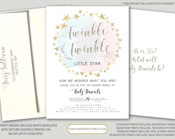 Twinkle Twinkle Gender Reveal Invitation How I wonder what you are He or She Boy or Girl Gold Stars Pink Watercolor - SEATTLE COLLECTION