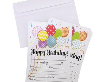 Happy Birthday Invitation Envelope, 7-Inch, 12-Piece