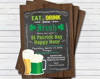 St Patricks Day party invitation. Eat drink and be irish happy hour drinks invitation. Retro bar chalkboard St Patricks day invite STPAB01