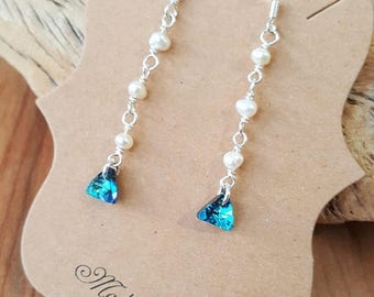 15% OFF SALE Sterling Silver White Freshwater Pearl and Blue Swarovski Triangle Earrings / 925 Sterling Silver Earrings / Drop Earrings / Pe