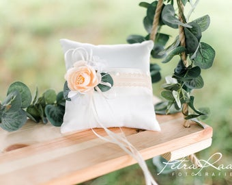 AK20 ring pillow, wedding rings, wedding pillow, bridal accessories, ivory, ivory, Pfingsrose, ring carrier pillow, flower girl