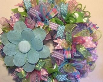 Sale Spring wreath / mesh spring wreath / spring wreaths / spring, flower wreath, burlap spring wreath, spring door decor, spring decoration