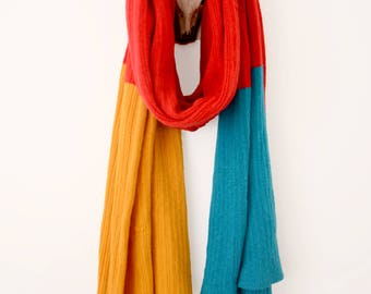 Stupidly Long Luxurious Red, Yellow and Blue Blanket Knitted Scarf