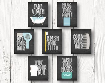brush your teeth comb your hair wash your hands hang your towel