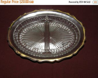 Winter Clearance Antique Clear Cut Glass Relish Dish with Gold Rim