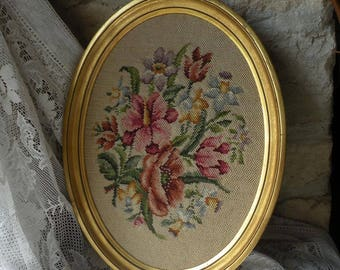 Large French vintage tapestry in oval frame, floral tapestry, vintage wall hanging, boho, country home, tapestry, French vintage