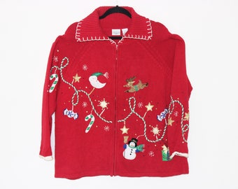 Ugly Christmas Sweater with Holiday Menagerie XL  XXL  784