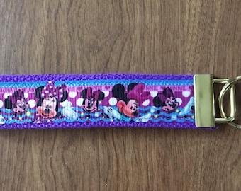 Minnie Mouse Key Chain Wristlet Zipper Pull