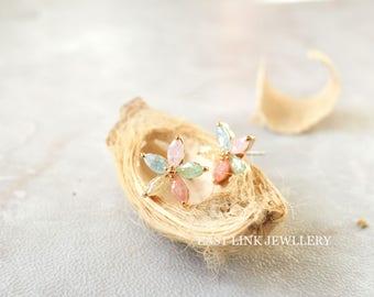 14K rose gold plated petite pedal flower earrings crystal cz mint tone stud flower earrings pierced earrings jewellery gift