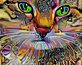 Psychedelic Art, Abstract Print, Colorful Wall Art, Cat Print, Psychedelic Poster