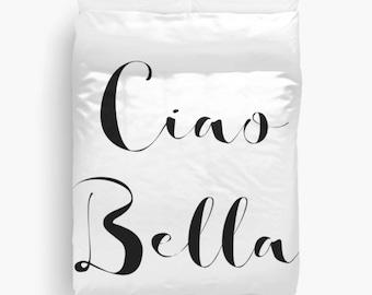 Ciao Bella Duvet Cover, Girls Bedding, Teen Girl Room Decor, Dorm Decor, Girls Bedroom, Black and White Duvet Cover, Twin, Queen, King