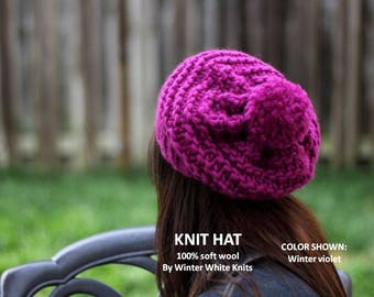 Wool knit hat, 100% soft wool hat, Winter hat, Knit pom pom hat, winter hat, hand-knit hat, Virgin wool knit hat, so soft and cozy