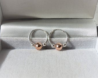 15mm Sterling Silver Sleeper Hoop Earrings with Rose & Silver Beads.