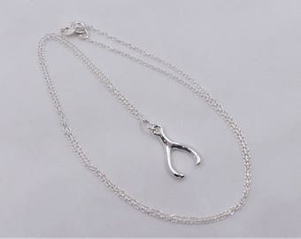 Sterling Silver Wishbone Pendant Necklace.