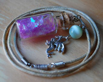 Necklace~ Dragon Scales in a Bottle, Lavender, with charm and bead