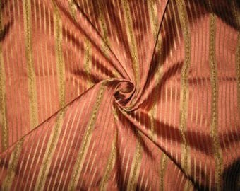 Zazu's Collection - 100% Pure Satin Silk Stripe Fabric - Gold & Rosewood