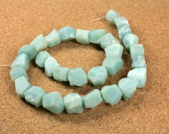 Amazonite Nugget Beads - Smooth Faceted Teal and White Beads