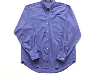 Vintage Gianni Versace jeans couture solid blue button updress shirt size XL button down k 2000
