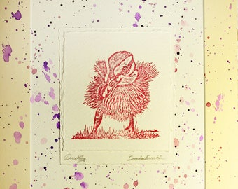 Purple and red duckling print with 10 x 12 inch mount