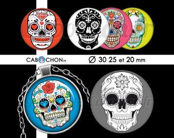 Mexican Skull ll • 45 Images Digitales RONDES 30 25 et 20 mm digital sheet sugar skulls mexicana crane tete de mort muerte printable