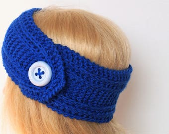 Blue Ear Warmer, Knitting Winter Headband ,Knit and Crochet Headband, Ear Warmer,Brown Headband,Crochet Headband,Knit Turban Headband