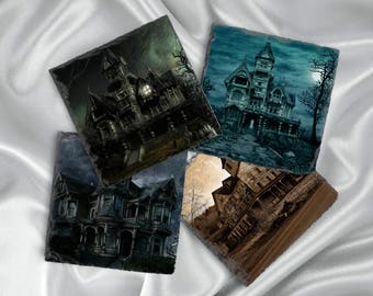 Haunted House Halloween Decor Coaster Set, Hostess Gift, Slate Drink Coaster Set of Four, Holiday Coaster Set, Birthday Present Idea