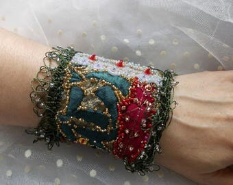 Morocco...oriental hand beaded collage wrist cuff, manually stitched bohemian cuff bracelet in green,gray,blue,red,silver,golden...