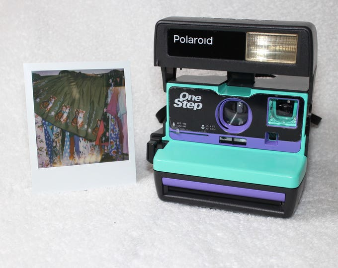 Retro Green and, Purple Polaroid 600 OneStep - Cleaned, Tested, and Ready For Fun